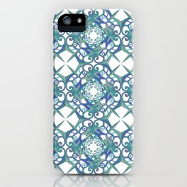 Thanksgiving Tiled - Blue White iPhone Case