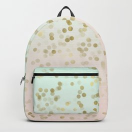 Chic Peach Mint Gold Confetti Backpack