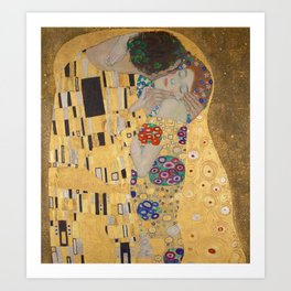 Gustav Klimt, The Kiss (Lovers), Detail Embrace, 1908 - Reproduction under Belvedere, Vienna, Creative Commons License CC BY-SA 4.0 Art Print