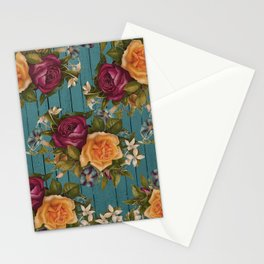 Vintage green wood coral burgundy roses floral Stationery Cards