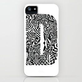 Alphabet Letter D Impact Bold Abstract Pattern (ink drawing) iPhone Case