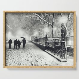 New York City Snow Bryant Park Serving Tray