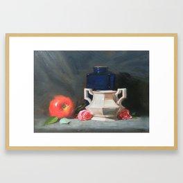 Blue Bottle with Apple Framed Art Print
