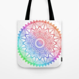 Rainbow Mandala Doodle Tote Bag