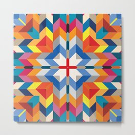 Swiss geometry prints with rectangles squares and triangles pattern Metal Print