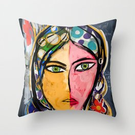 Portrait of a mystique girl Throw Pillow