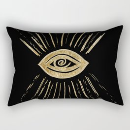 Evil Eye Gold on Black #1 #drawing #decor #art #society6 Rectangular Pillow