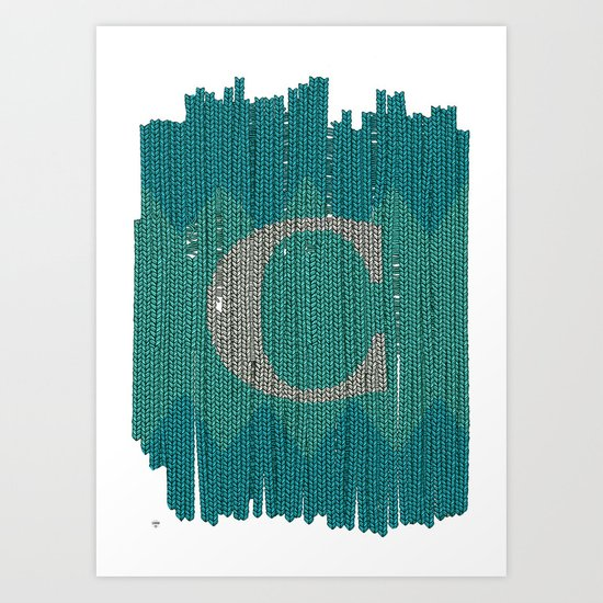 Winter clothes. Letter C. Art Print