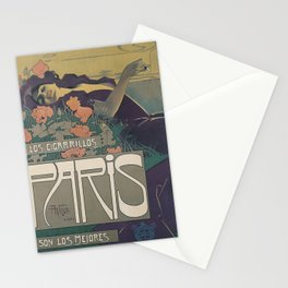 Vintage Advertisement Poster - Aleardo Villa - Cigarillos Paris (1901) Stationery Cards