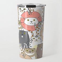 Cute Tigers And Cats Pattern Travel Mug