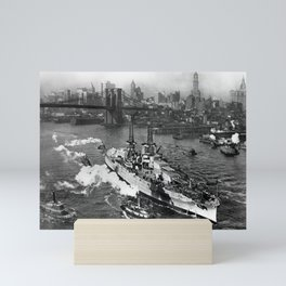 USS Arizona on the East River - NYC - 1916 Mini Art Print