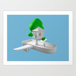 Tree House Boat Art Print