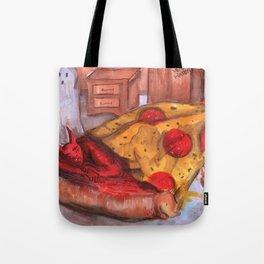 devil in pizza Tote Bag