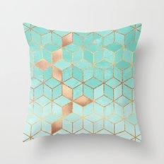 Soft Gradient Aquamarine Throw Pillow