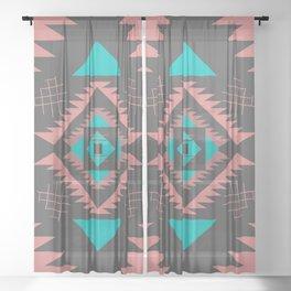 Navajo southwestern shapes Sheer Curtain