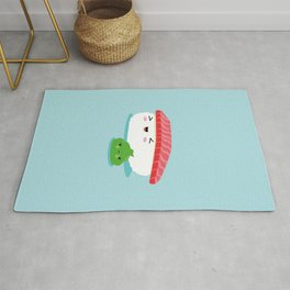 Best Friends Illustration Kawaii Sushi Nigiri and Wasabi Rug