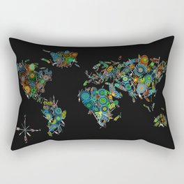 world map feathers mandala Rectangular Pillow