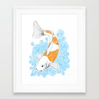 koi fish Framed Art Prints featuring Koi fish  by Art & Be
