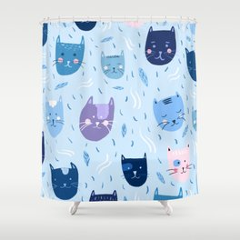 Little blue cats Shower Curtain