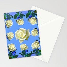 WHITE ROSES BLUE GREEN GARDEN DESIGN PATTERN Stationery Cards