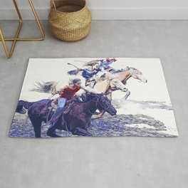 Horse Racing Cowgirls Rug