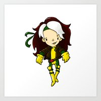 rogue Art Prints featuring ROGUE by Space Bat designs