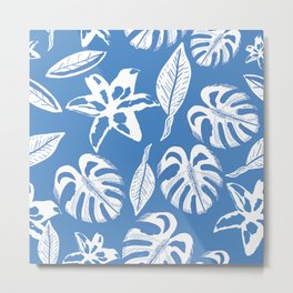 Tropical Leaves and Lily Flower Blue Background Seamless Summer Pattern Metal Print