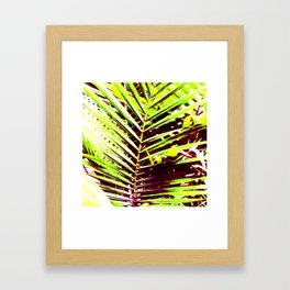 Palm Leaves, Bright Green, Yellow and Magenta Framed Art Print