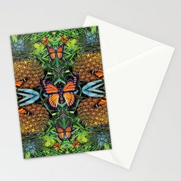 MONARCH BUTTERFLY PINEAPPLE ABSTRACT PATTERN Stationery Cards