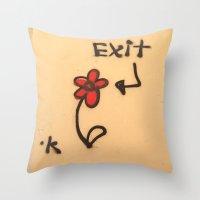 grafitti Throw Pillows featuring Exit Grafitti Flower by Simpson Jane