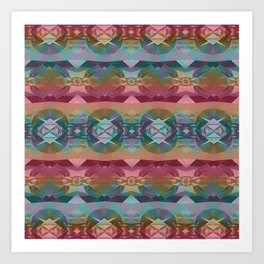 Mauve and Indigo Southwestern Tribal Boho Art Print