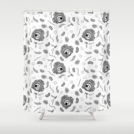 Cell Organelles - Black and White Shower Curtain