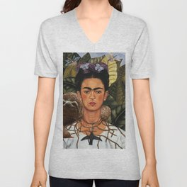 Frida Kahlo's Self Portrait with Sloth Unisex V-Neck
