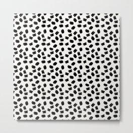 Black white moderm watercolor brushstrokes pattern Metal Print