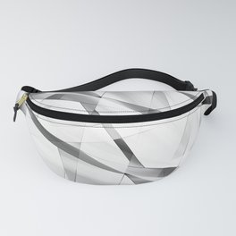 Exclusive luminous pattern of chaotic black and white fragments of glass, foil, and silver plates. Fanny Pack