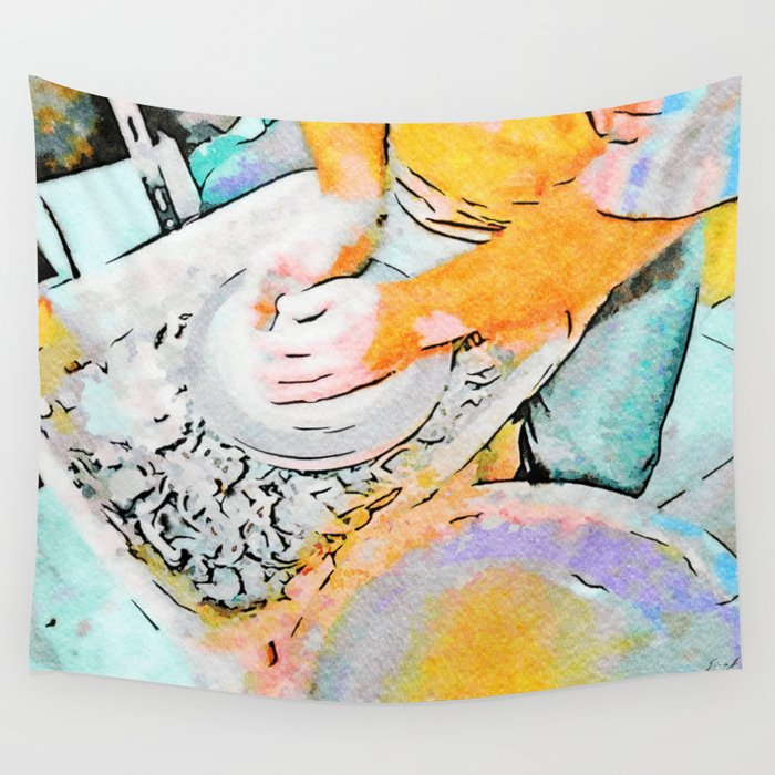 Hands of the ceramist craftsman Wall Tapestry