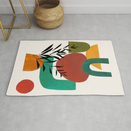 'Afternoon At The Park' Abstract Geometric Shapes Paper Collage Colorful Arrangement Mid Century Modern Cool Funky Style by Ejaaz Haniff Rug