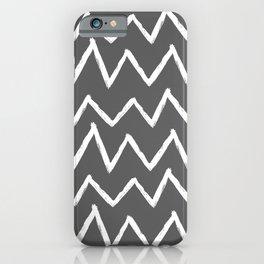 Hand-Drawn Zig Zag (White & Grey Pattern) iPhone Case