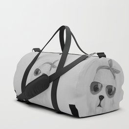 maltese with sunglasses Duffle Bag