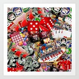 Gamblers Delight - Las Vegas Icons Art Print