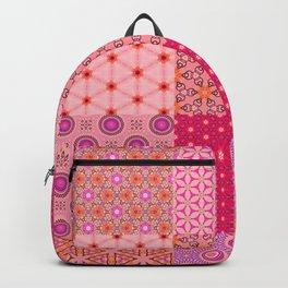Digital Pink and Orange Patchwork Quilt Backpack