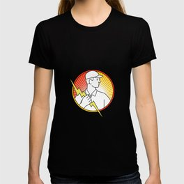 Electrician Holding Lightning Bolt Circle Monoline T-shirt