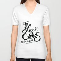 bible verse V-neck T-shirts featuring Typographic Verse by Ruthie Designs
