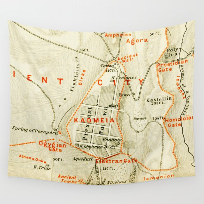 Vintage Map of Thebes Egypt (1894) Wall Tapestry by vuramedia ... on