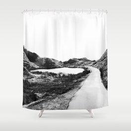 Road through Fairy Glen - B/W Shower Curtain
