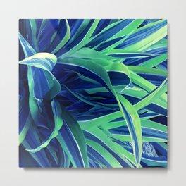 Gorgeous Teal Blue & Green Leaves Artsy Photo Metal Print