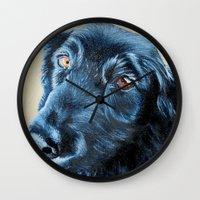 sam smith Wall Clocks featuring Sam by Lindsay Larremore Craige