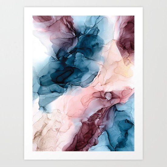 Pastel Plum, Deep Blue, Blush and Gold Abstract Painting by elizabethschulz