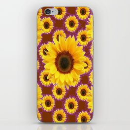 Brown & Violet Accents Color Sunflowers Pattern iPhone Skin