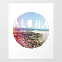 aloha Art Prints featuring Aloha by Sunkissed Laughter